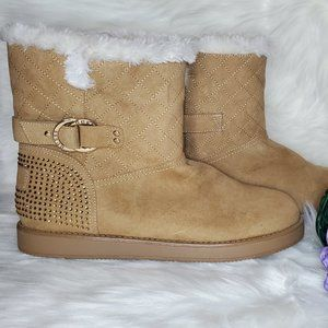 Guess Faux Fur Brown Boots Sz 10